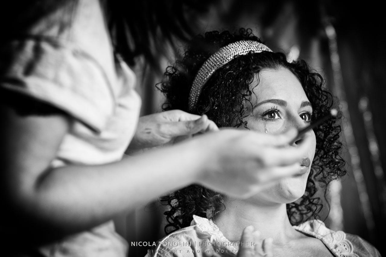 bride tears getting ready