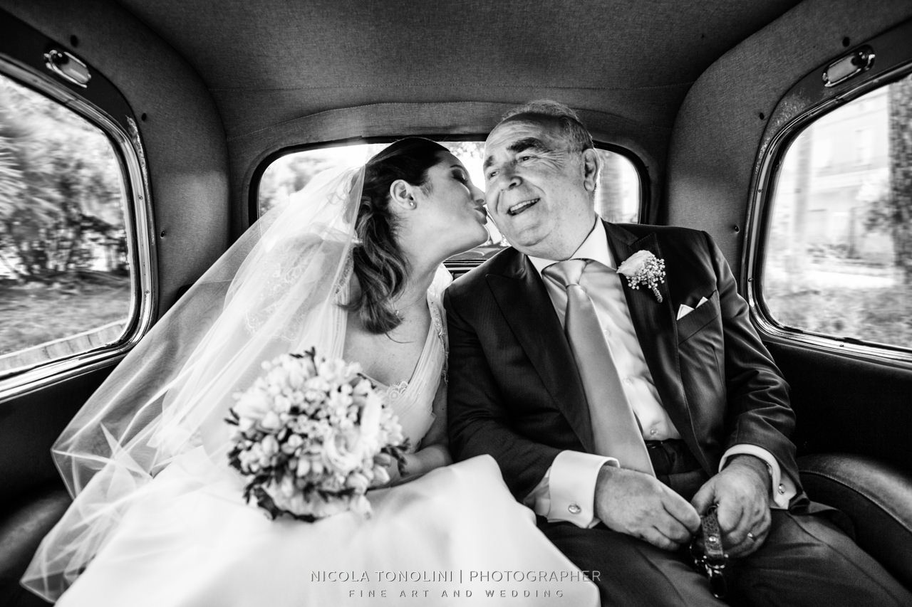 bride kiss her father