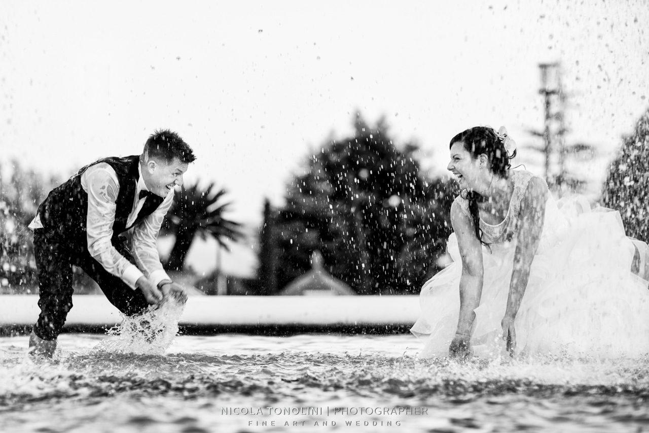 crazy bride and groom